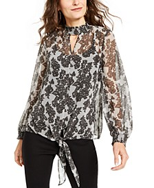 Keyhole Tie-Front Top, Created For Macy's