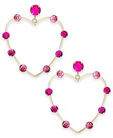 Gold-Tone Crystal Open Heart Drop Earrings, Created For Macy's