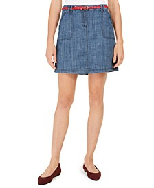 Petite Belted Chambray Skort, Created for Macy's