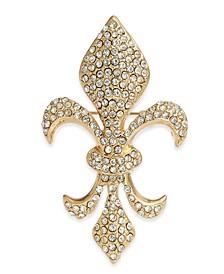 Gold-Tone Pavé Fleur-De-Lis Pin, Created for Macy's