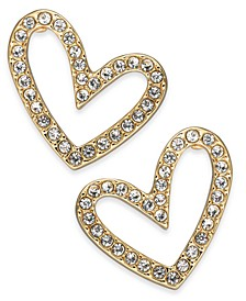 Gold-Tone Pavé Open Heart Stud Earrings, Created For Macy's