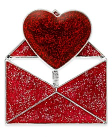 Silver-Tone Glitter Sequin Love Note Pin, Created For Macy's