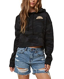 Juniors' Surf Supply Cotton Camo-Print Cropped Hoodie