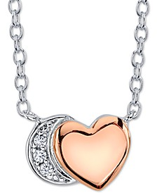 Cubic Zirconia Heart & Crescent Moon Pendant Necklace in Sterling Silver & Rose Gold-Plate