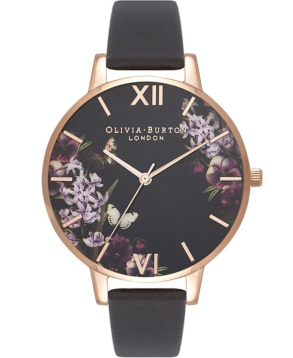 Olivia Burton Women's Black Leather Strap Watch 38mm