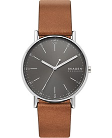 Men's Signatur Brown Leather Strap Watch 40mm