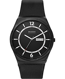 Men's Melbye Black Stainless Steel Mesh Bracelet Watch 45mm