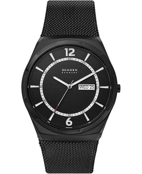 Skagen Men's Melbye Black Stainless Steel Mesh Bracelet Watch 45mm