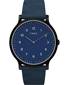 Women's Norway Blue Leather Strap Watch 40mm