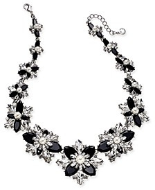"Silver-Tone Crystal, Stone & Imitation Pearl Cluster Statement Necklace, 18"" + 2"" extender, Created For Macy's"