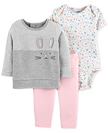 Baby Girls 3-Pc. Cotton Bunny Top, Floral-Print Bodysuit & Pants Set