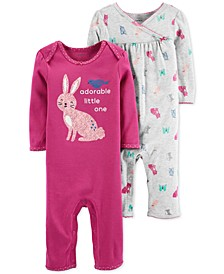 Baby Girls 2-Pk. Bunny Cotton Coveralls
