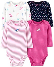 Baby Girls 4-Pk. Printed Cotton Bodysuits
