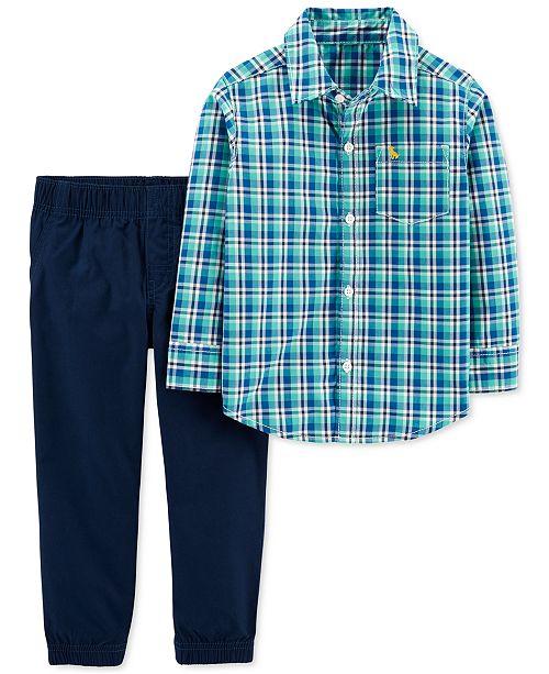 Carter's Baby Boys 2-Pc. Cotton Plaid Button-Front Shirt & Poplin Pants Set