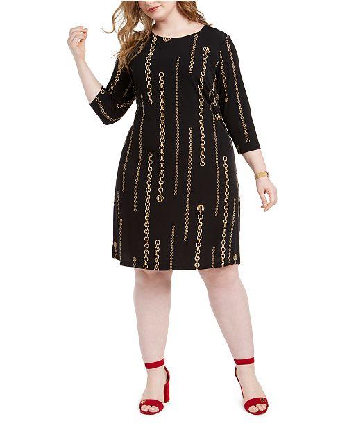 Tommy Hilfiger Plus Size Chain Print Dress