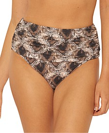 Python-Print Shirred High-Waist Bikini Bottoms