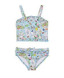 Toddler Girls Scrapbook Print Shirred Top Two Piece Swimsuit