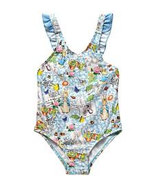 Toddler Girls Scrapbook Print V-Back One Piece Swimsuit