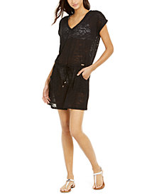 Calvin Klein Burnout Drawstring Tunic Swim Cover-Up, Created for Macy's