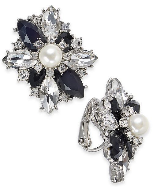 Charter Club Silver-Tone Crystal, Stone & Imitation Pearl Cluster Clip-On Stud Earrings, Created For Macy's