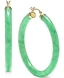 Dyed Jade (45mm) Medium Hoop Earrings in 14k Gold-Plated Sterling Silver, 1.77""