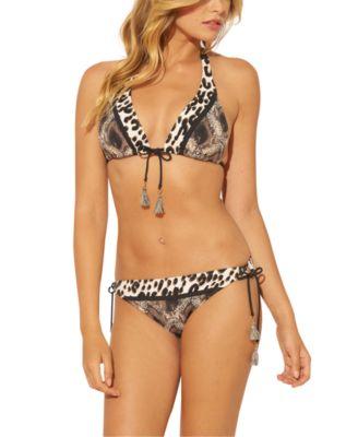 Animal-Print Triangle Bikini Top