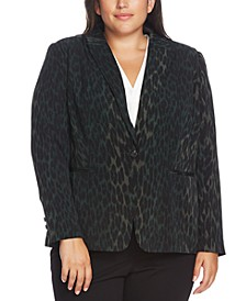 Plus Size Animal-Print Blazer