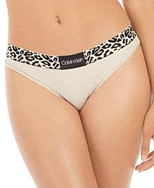 Calvin Klein Women's Animal-Print Microfiber Bikini QF5462
