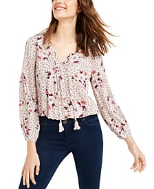 Juniors' Crochet-Trim Peasant Top, Created for Macy's