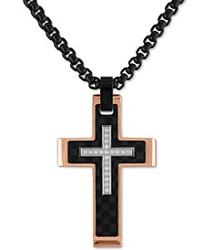"Diamond Cross 22"" Pendant Necklace (1/10 ct. t.w.) in Stainless Steel, Black Carbon Fiber & Rose Ion-Plate, Created for Macy's"