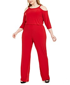 Plus Size Embellished Cold-Shoulder Jumpsuit