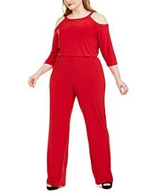 Plus Size Embellished Cold-Shoulder Jumpsuit