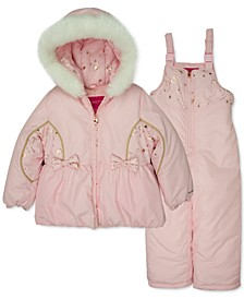 Toddler & Little Girls 2-Pc. Jacket & Bib Snow Suit