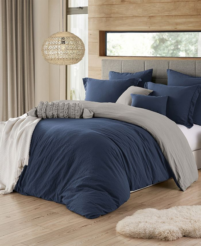Cathay Home Inc. - Ultra Soft Reversible Crinkle Duvet Cover Set - Twin/Twin XL