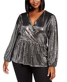 Plus Size Sequin-Dot Crossover Top