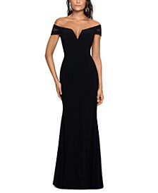 Off-The-Shoulder Illusion-Sleeve Gown
