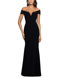 XSCAPE Off-The-Shoulder Illusion-Sleeve Gown