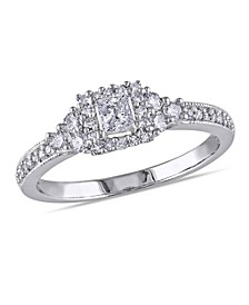 Princess and Round Certified Diamond (1/2 ct. t.w.) Halo Engagement Ring in 14k White Gold