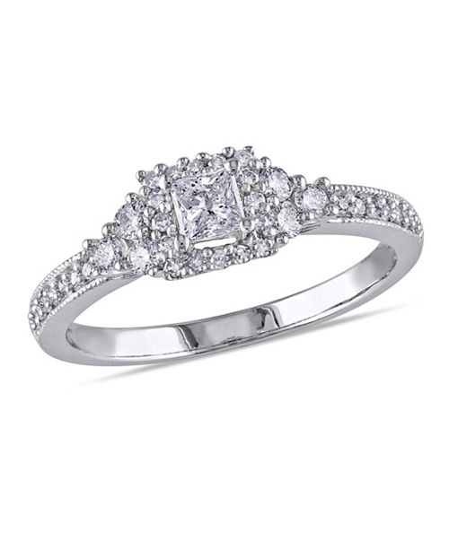 Macy's Princess and Round Certified Diamond (1/2 ct. t.w.) Halo Engagement Ring in 14k White Gold