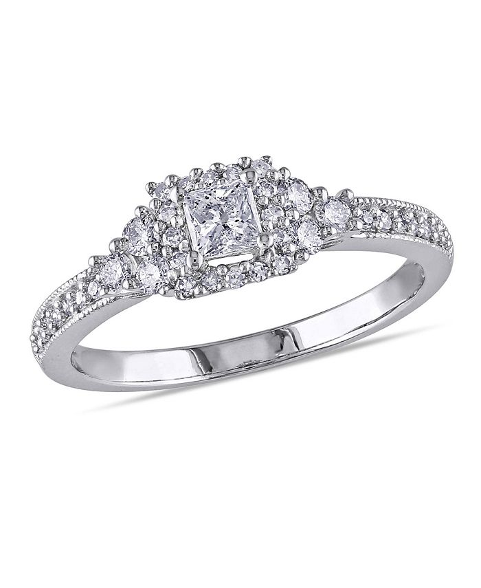 Macy's - Princess and Round Diamond (1/2 ct. t.w.) Halo Engagement Ring in 14k White Gold