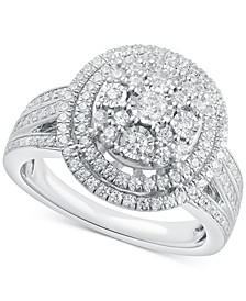 Diamond Halo Cluster Ring (1 ct. t.w.) in Sterling Silver
