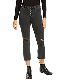 Kick-Flare Exposed-Button Jeans