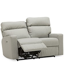 """Leyburn 59"""" Leather Loveseat with Power Recliner and Power Headrests"""