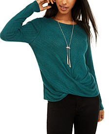 Juniors' Twist-Front Rib-Knit Sweater