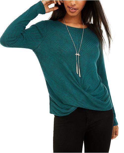 BCX Juniors' Twist-Front Rib-Knit Sweater
