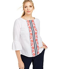 Petite Printed Bell-Sleeve Linen-Blend Top, Created for Macy's