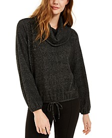 Juniors' Textured Cowlneck Drawstring Sweater