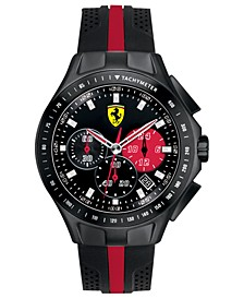 Scuderia Watch, Men's Chronograph Race Day Black and Red Silicone Strap 44mm 830023