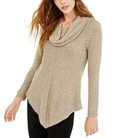 Juniors' Textured Cowlneck V-Hem Sweater
