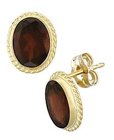 Gemstone Twist Gallery Stud Earring in 14k Yellow Gold Available in Garnet Amethyst, Citrine, Peridot